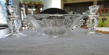"""FOSTORIA BAROQUE W/ CHINTZ ETCH CONSOLE BOWL WITH 5"""" CANDLESTICK HOLDERS SET"""