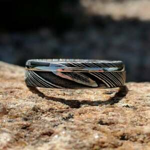 Damascus Steel Mens Wedding Band 14k Solid White Gold Inlay USA Made