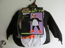 Penguin bird vest Halloween costume dress up, 1-2 years 12-24m, New black white