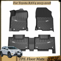 3W Floor Mats for Toyota RAV4 2013-2018 - 1st & 2nd Row Custom Fit Carpet Liner