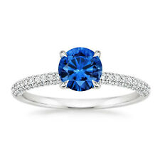 1.70Ct Gemstone Solid 14k White Gold Blue Sapphire Rings Diamond Engagement Band