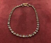 "Vintage Bracelet 7.5"" Gold Tone Rhinestone"