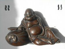 Circa 1880 Antique Japanese Bronze Hotei Sculpture Meiji Period Luck & Wealth