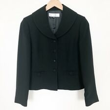 Tahari Petite Women's Black Blazer Jacket Size 6P Bows Pockets Career