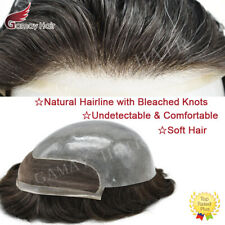 French Lace Front Mens Toupee Poly Skin Hairpieces PU Human Hair Systems for Men