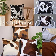 Faux Fur Cow Print Cushion Cover Throw Pillows Case Sofa Pillowcase Various Size