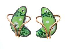 Vintage RARE MATISSE Renoir Copper FREEFORM Green Enamel Clip Earrings
