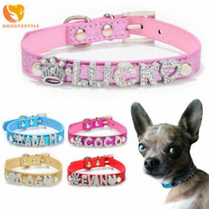 Bling Pet Dog Collar Personalized DIY Name Charms Leather Cat Puppy Dog Necklace