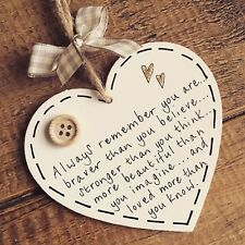 You Are Braver Stronger Beautiful Loved Heart Friend Plaque Gift Present Hanging