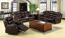 Bonded Leather 3 pc Sofa Loveseat Chair Plush Cushions W/ Console Rustic Brown