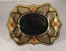Antique English European Toleware Tin Tray Gilt Decoration Restoration