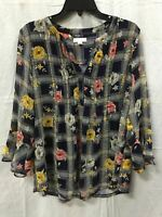 Charter Club Knit Ruffle Floral Plaid Pintuck Top Blue LARGE