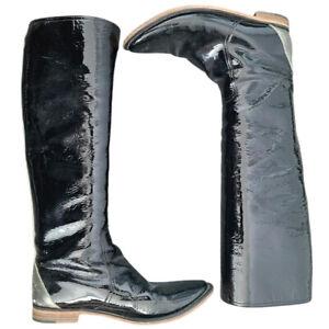 SIGERSON MORRISON Black & Silver Patent Leather Riding Boots SZ 8