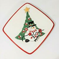 Cheers Plate Fitz & Floyd New Cookies for Santa Snowman Tree  2007  Party Gift