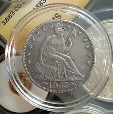 1853 50C <-Arrows-> and Rays Liberty Seated Half Dollar (About Uncirculated !!)