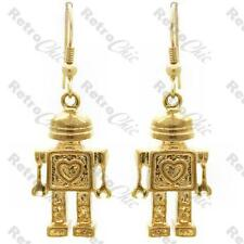 KITSCH love HEART ROBOT EARRINGS gold pltd RETRO ELECTRO vintage style QUIRKY