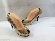 Nine West Peep Open Toe Pumps High Heel Glitter Party Shoes Size 10 M