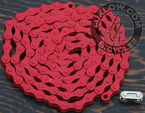 "Red Single Speed Fixie Bicycle Chain YBN 1/2""x1/8"" 112L Schwinn Cruiser Bike BMX"