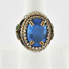 Ornately Beautiful Antique Style Blue Topaz Emerald Gold Oxidized Silver Ring