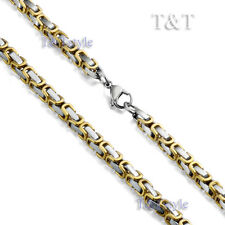 T&T 5mm 316L Stainless Steel Square Chain Silver/Gold (C10)