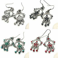 ICON 2.25 in CLEAR, RED, GREEN or BLACK CRYSTAL SILVER DANGLE HOOK EARRINGS NEW