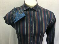 Thomas Dean Men's M Multi Color Striped Long Sleeve 100% Cotton Shirt Flip Cuff