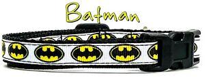 "Batman cat or small dog collar 1/2"" wide adjustable handmade bell or leash"