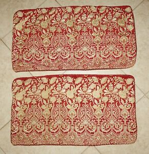CROSCILL CLASSIC Red Burgundy Gold Floral Jacquard Tapestry KING Pillow Shams