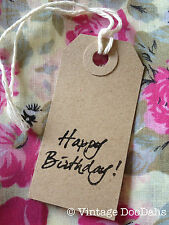 Vintage Style Gift/ Luggage Tags - Pack of 10 HAPPY BIRTHDAY Brown Tags