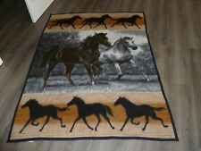 "Biederlack  Horses Horse  Reversible Large Blanket USA Made 57"" x 75"""