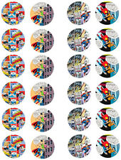 Comic Super Hero Superman Edible Cupcake / Fairy Cake Wafer Paper Toppers x 24