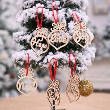6Pcs Christmas Decorations Wooden Ornament Xmas Tree Hanging Tags Pendant Decor