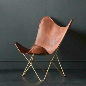 Vintage Retro Butterfly Chair Vintage Pure Leather Tan Seat Gold Base Chair
