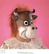 Childrens Cow Face Mask With Hair Farm Animal Fancy Dress