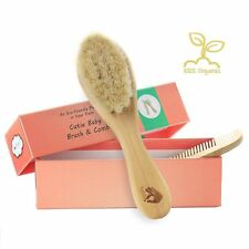 Organic Soft Goat Baby Hair Brush Eco-Friendly Wood Handle + Wooden Cutie Comb