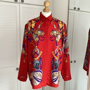 Yoo Jung Vintage Shirt Size M / L Equestrian Red Chain Blouse Button Up Collared