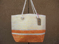 Orange & Gray Metalic Straw Shopper Beach Gym Tote Bag  Handbag  Purse Big Large