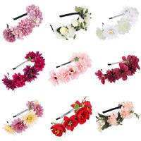 Women's Bridal Flower Crown Headband Rose Garland Hairband Hair Wedding Wreath