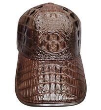 Genuine Crocodile Alligator Skin Unique Baseball Adjustable Hat Cap, Black Brown