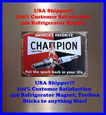 Champion Spark Plug Fridge Magnet Man Cave Sign Pinup Girl Garage BAR Decor