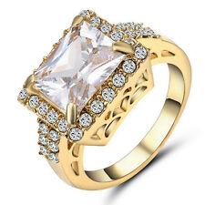 Size 7 Princess Cut White Garnet Ruby Wedding Ring 10KT Yellow Gold Filled