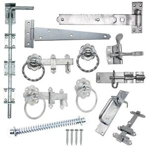 Gate Hinges Drop Bolt Spring Catch Ring Latch Plain Twisted GALV FREE Fixings