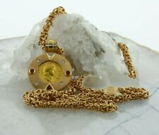 18K Yellow Gold Ancient Nero Gold Coin Pendant and Necklace w/ Diamonds & Rubies