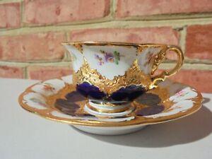 Meissen Porcelain Cobalt Blue Gold Encrusted Floral Demitasse Cup & Saucer Set