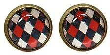 Check Pattern Earrings Black and Red Plaid Hippie Korean Style Cool School Stud