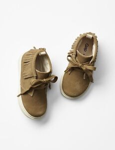 GAP Baby / Toddler Girl Size 6 NWT Brown Tan Suede Fringe Boots Moccasins Shoes
