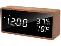 Alarm Clock,LED Display With Time Temperature Humidity, Brightness Without Box