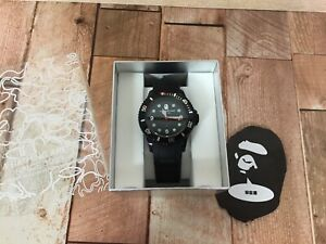 A BATHING APE BAPEX RUBBER Black Submariner Sarumariner Quartz with BOX Rare F/S