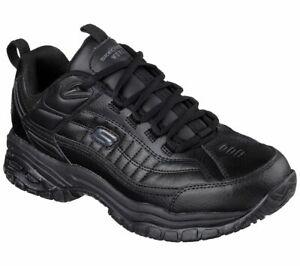 Skechers for work Men's Soft Stride Galley Slip Resistant Unisex Blk 76759 A2