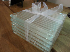 Fused Glass Clear Linear textured Coasters 100 x 100mm sets of 4 or 6